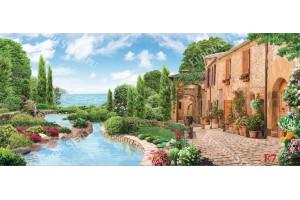 Фототапети макси размер красива гледка комбинация море и градина