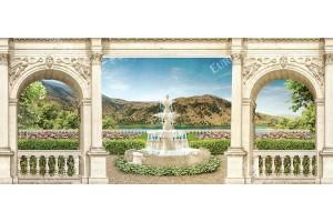 Фототапети макси гледка на градина с фонтан през колони