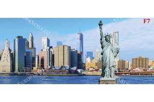 макси панорама от манхатън с статуята на свободата