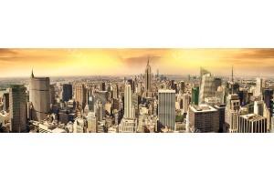 Фототапети изглед панорама на Ню Йорк златисто небе