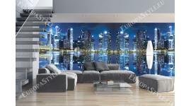 Фототапети макси размер огледален образ нощен град със светлини