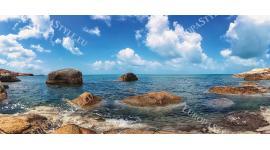 Фототапет макси размер панорамен пейзаж на морски бряг и скали
