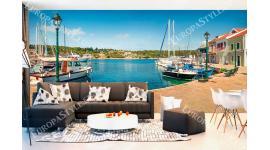 Фототапети яхтено пристанище панорама от остров Гърция макси