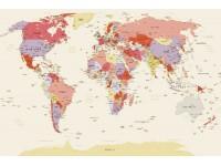 Атмосферата в помещение с фототапети карта на света .